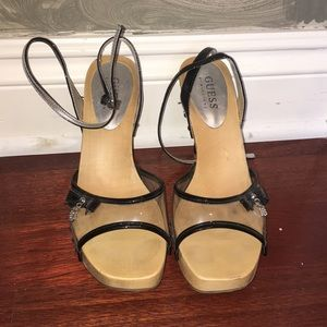Patent black clear Guess sandals size 8